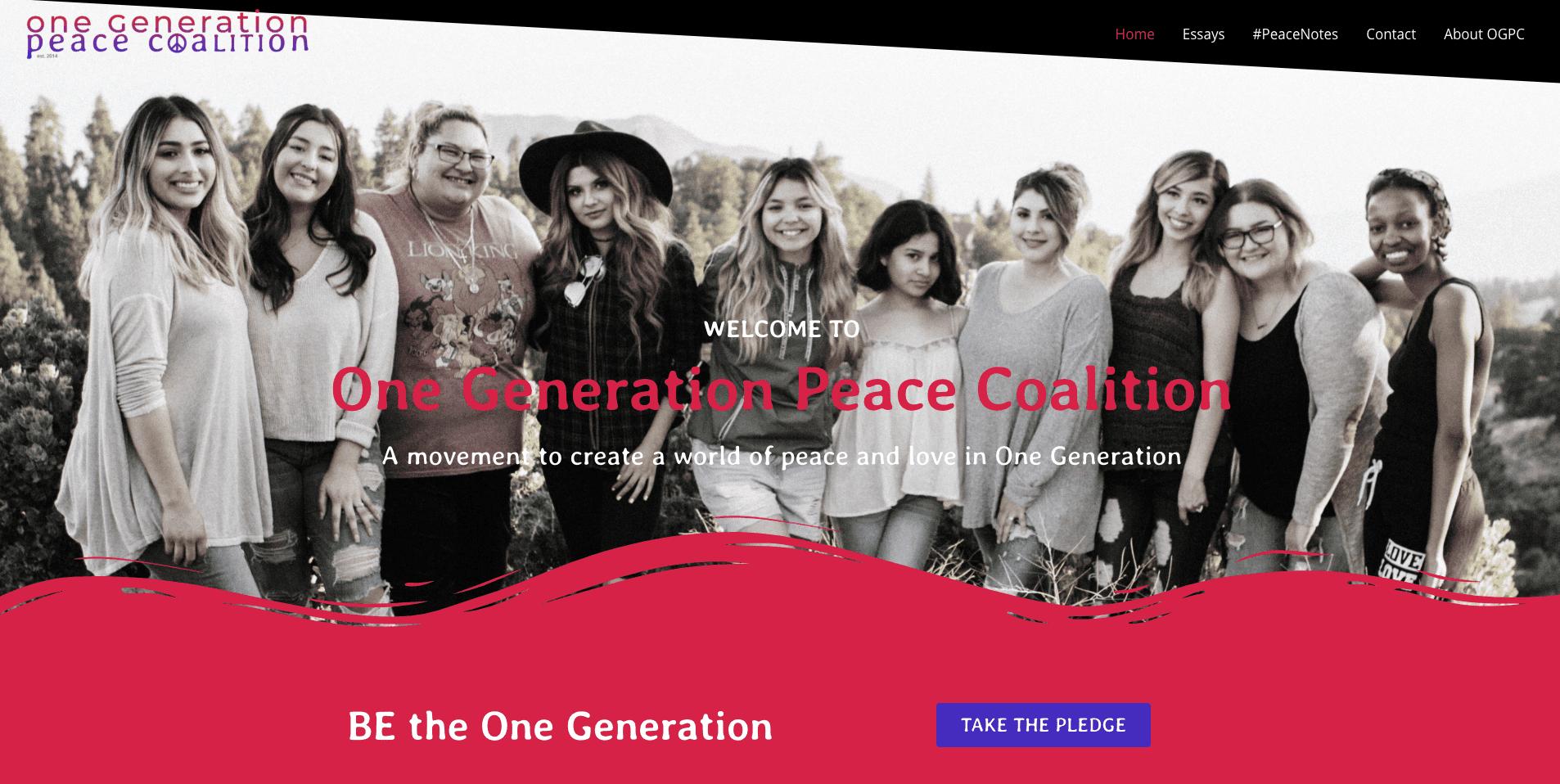 One Generation Peace Coalition - Built on WordPress using Astra Pro & Elementor