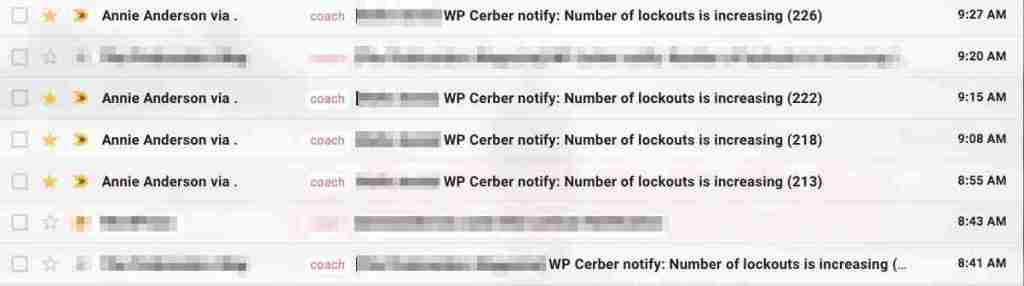 Image shows email inbox with notifications from WP Cerber on the number of lockouts it has blocked from hacking attempts this morning